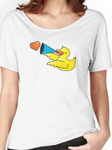 Duckie with a loud speaker Women's Relaxed Fit T-Shirt