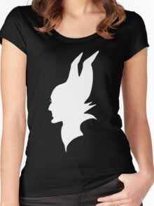 White Maleficent Silhouette Women's Fitted Scoop T-Shirt