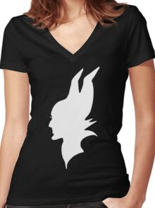 White Maleficent Silhouette Women's Fitted V-Neck T-Shirt