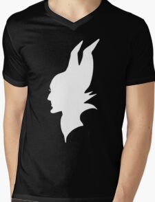 White Maleficent Silhouette Mens V-Neck T-Shirt