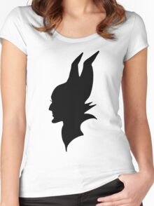 Black Maleficent Silhouette Women's Fitted Scoop T-Shirt