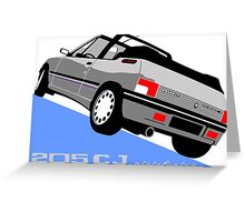 Peugeot 205 CJ cabriolet silver Greeting Card