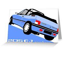 Peugeot 205 CJ cabriolet light blue Greeting Card
