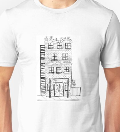 Tall Brick Apartment Building with Coffee Shop Unisex T-Shirt
