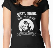 Halloween Shirt - eat, drink and be scary Women's Fitted Scoop T-Shirt