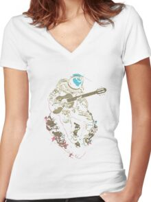 astronaut AND MUSIC Women's Fitted V-Neck T-Shirt