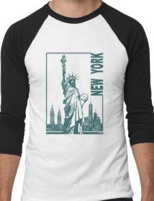 New York-Statue of Liberty  Men's Baseball ¾ T-Shirt