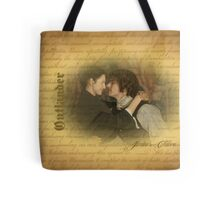 Jamie & Claire on on old paper with script.  Tote Bag