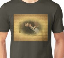 Jamie & Claire on on old paper with script.  Unisex T-Shirt