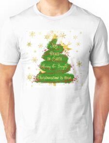 Christmas Tree sentiment art, golden snowflakes Unisex T-Shirt