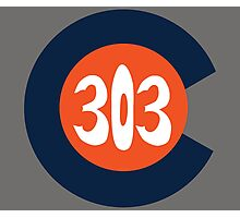 Hand Drawn Colorado Flag 303 Area Code Broncos Photographic Print
