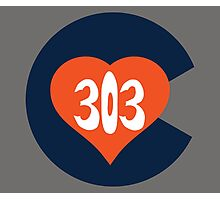 Hand Drawn Colorado Heart Flag 303 Area Code Broncos Photographic Print