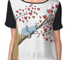 Cute Sleeping Koala on Tree with Hearts Chiffon Top