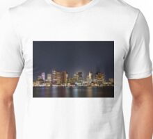 Full moon behind boston skyline Unisex T-Shirt