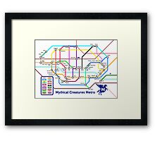 Epic Mythical Creatures Underground Map Framed Print