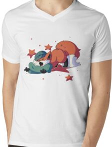 Sleepy Fox Mens V-Neck T-Shirt