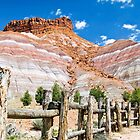 Tecnicolor Cliffs and Fence at Pariah, Utah by Kenneth Keifer