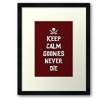 Keep Calm Goonies Never Die by Topher Adam Framed Print