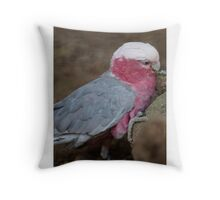 parrot on its perch Throw Pillow