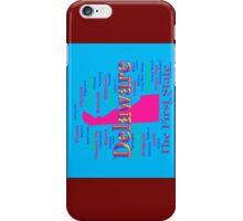Colorful Delaware State Pride Map Silhouette  iPhone Case/Skin