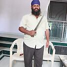 Sikh Posing with Sword by Andrew  Makowiecki