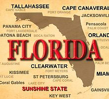Antique Florida State Pride Map Silhouette  by KWJphotoart