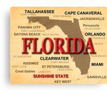 Antique Florida State Pride Map Silhouette  Canvas Print