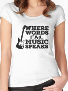 Music Quotes Guitar Music Lover Inspirational  Women's Fitted Scoop T-Shirt