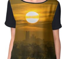 Sunrise over Ely Cathedral, UK Chiffon Top