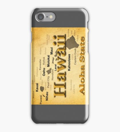 Aged Hawaii State Pride Map Silhouette  iPhone Case/Skin