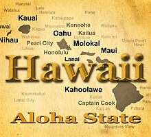 Aged Hawaii State Pride Map Silhouette  by KWJphotoart