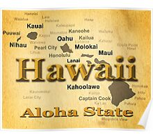 Aged Hawaii State Pride Map Silhouette  Poster