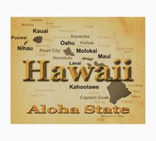 Aged Hawaii State Pride Map Silhouette  Kids Clothes