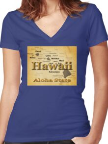 Aged Hawaii State Pride Map Silhouette  Women's Fitted V-Neck T-Shirt