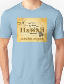 Aged Hawaii State Pride Map Silhouette  T-Shirt