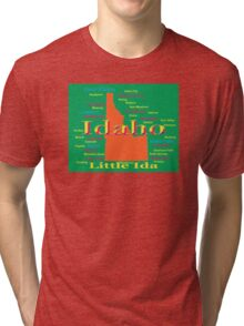 Colorful Idaho State Pride Map  Tri-blend T-Shirt
