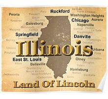 Aged Illinois State Pride Map Silhouette  Poster