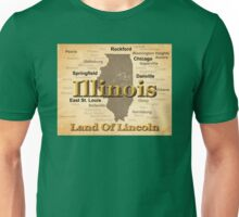 Aged Illinois State Pride Map Silhouette  Unisex T-Shirt