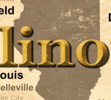 Aged Illinois State Pride Map Silhouette  Sticker