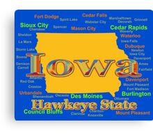 Colorful Iowa State Pride Map  Canvas Print