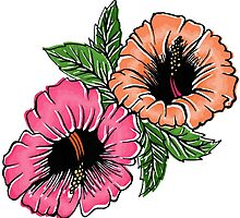 Exotic Bright Hibiscus Flowers by ellawhittle