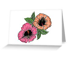 Exotic Bright Hibiscus Flowers Greeting Card