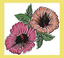 Exotic Bright Hibiscus Flowers Kids Tee