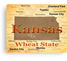 Aged Kansas State Pride Map Silhouette  Canvas Print