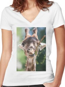 giraffe at the zoo Women's Fitted V-Neck T-Shirt