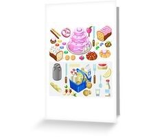Food Set Candy & Dairy 3D Isometric Greeting Card