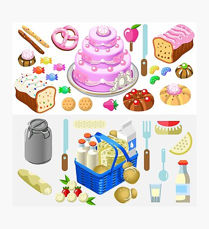 Food Set Candy & Dairy 3D Isometric Photographic Print