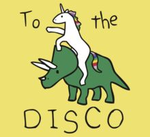 To The Disco (Unicorn Riding Triceratops) Baby Tee