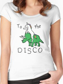 To The Disco (Unicorn Riding Triceratops) Women's Fitted Scoop T-Shirt
