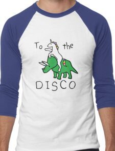 To The Disco (Unicorn Riding Triceratops) Men's Baseball ¾ T-Shirt